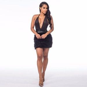Deep V Fur Mini Dress